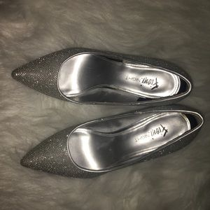 Size 7 Sparkly Silver Heels, worn once!